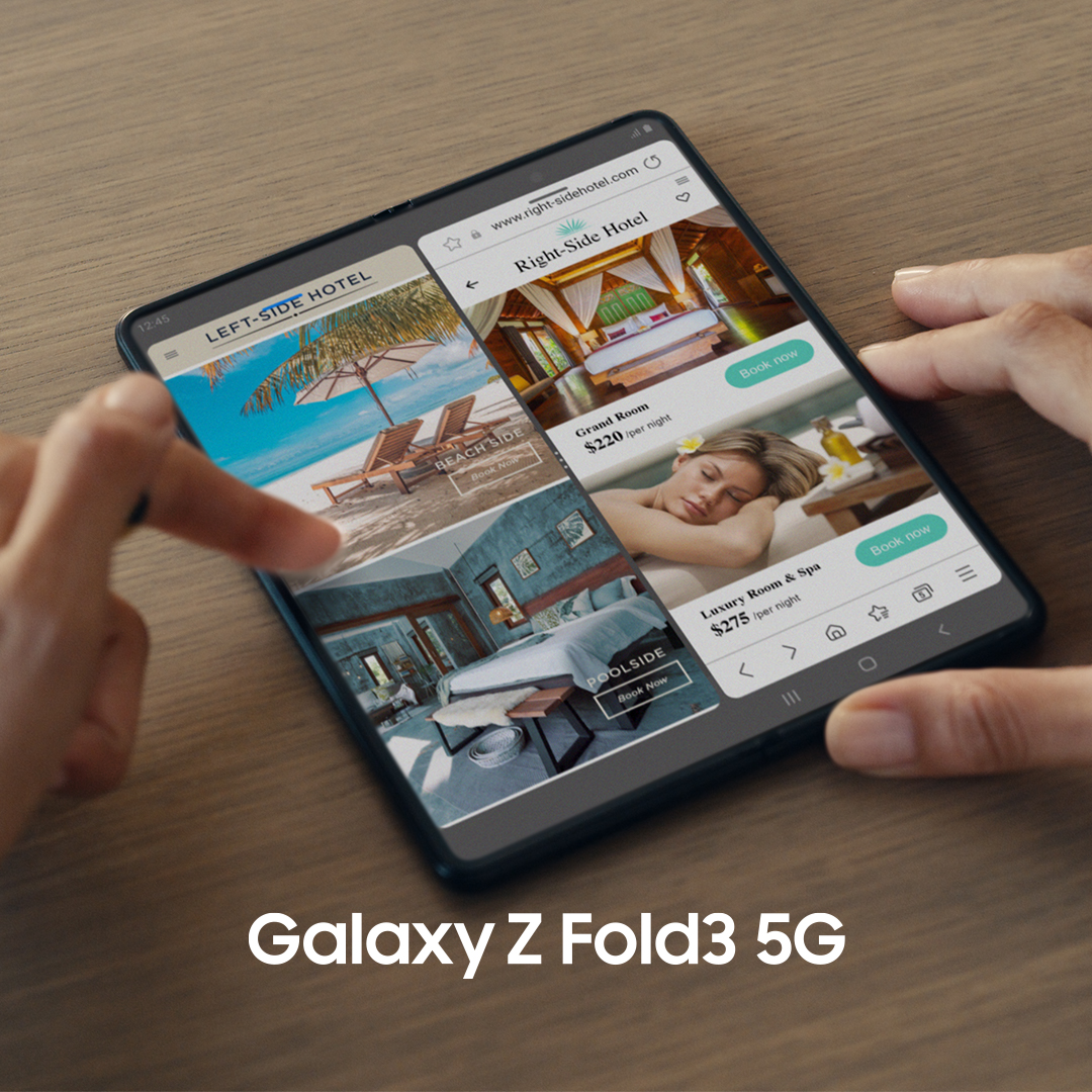 Introducing the Galaxy Z Fold3 5G.  Do one, two, three things at once with Z Fold3's enhanced multitasking. Compare, take notes, create, send, schedule and even more. Get it all done faster and stress-free.  Unfold your world.  Learn more: https://t.co/flcrBzywut  #GalaxyZFold3 https://t.co/wGiOB34mPk