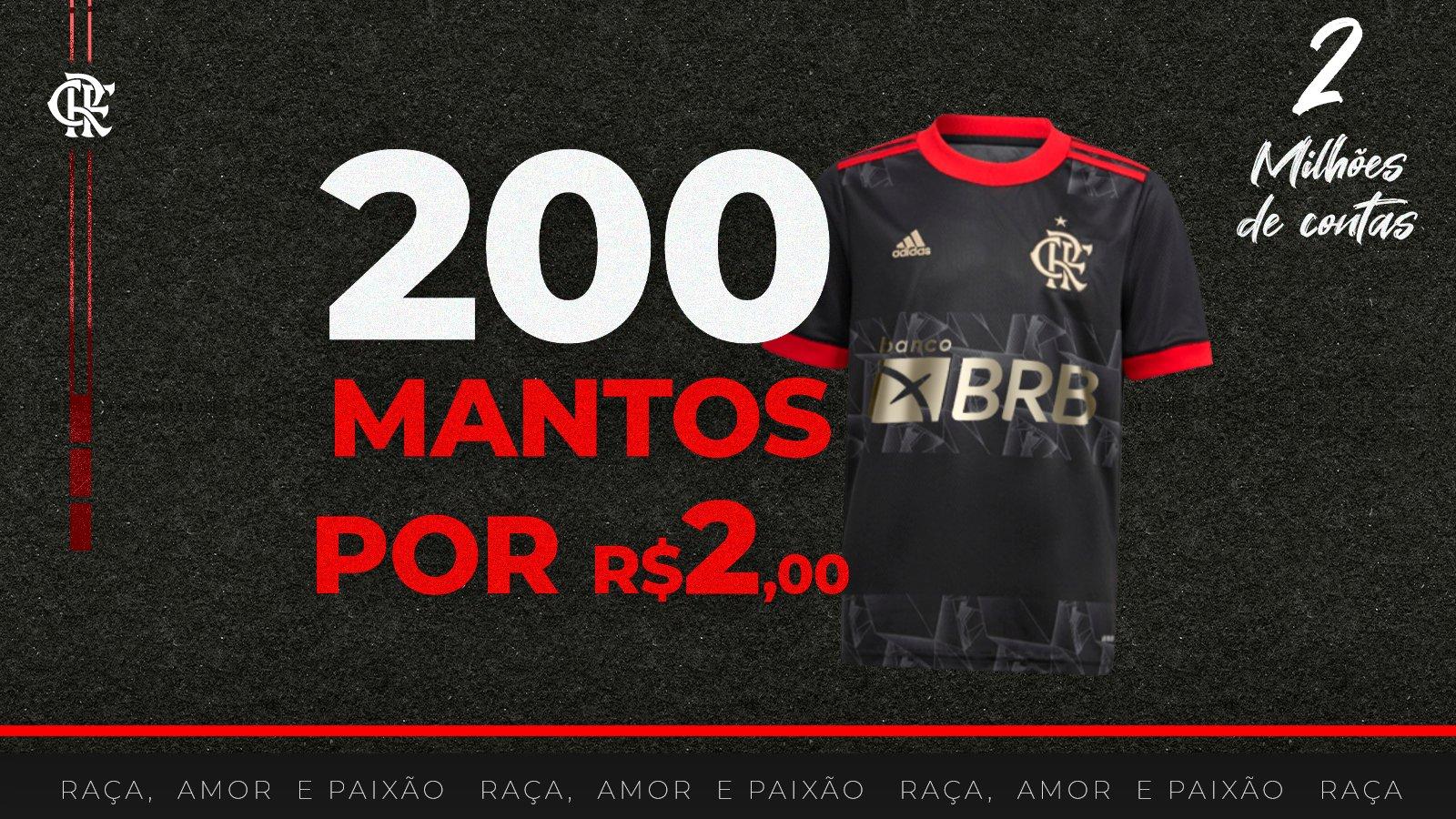 Em a��o rel�mpago, patrocinadora vende camisas oficiais do Flamengo por apenas dois reais