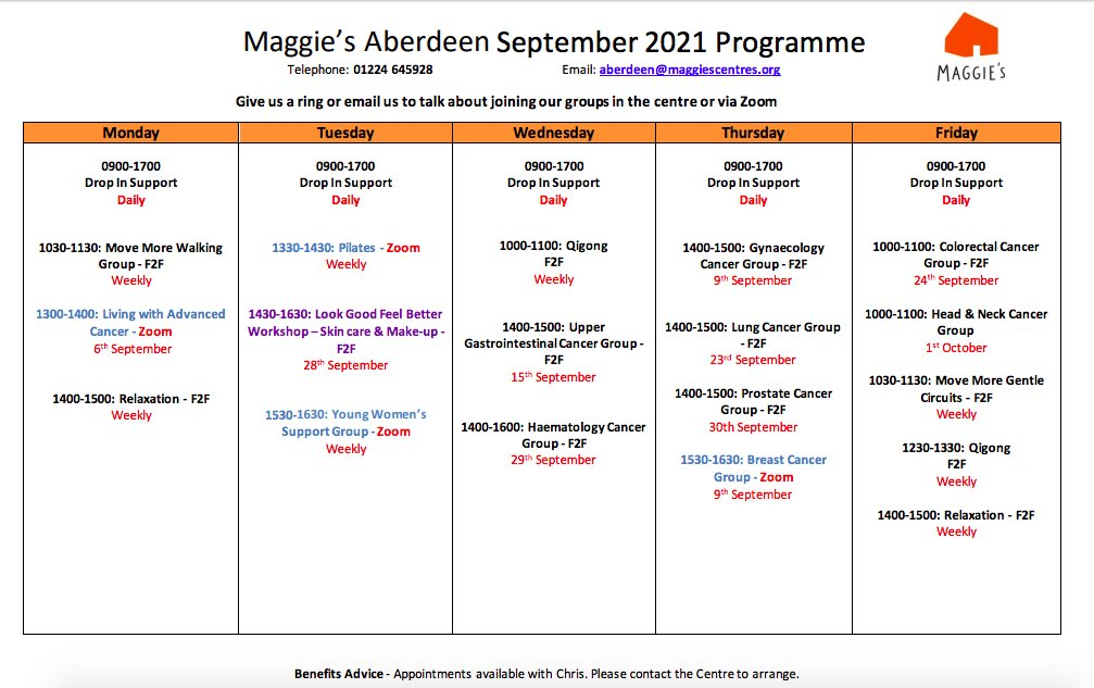 Here's our timetable of group support for September! Places must be booked so please get in touch if you'd like to join any of the groups. #herewithyou
