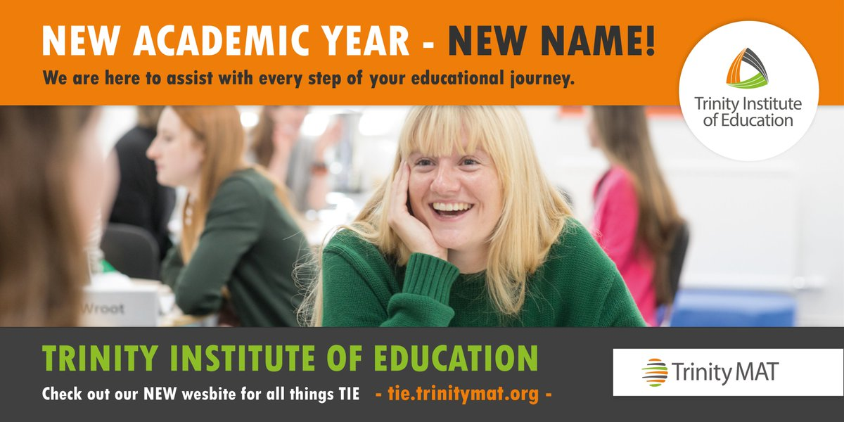 RT @Trinityteach 🌟 New year - New name! We are incredibly excited to start this academic year with our new name, Trinity Institute of Education.  💚 We may have left TTSA behind but we are still here for all of your educational needs from #ITT training to the #ECF & much more 🤗 #TrinityMAT