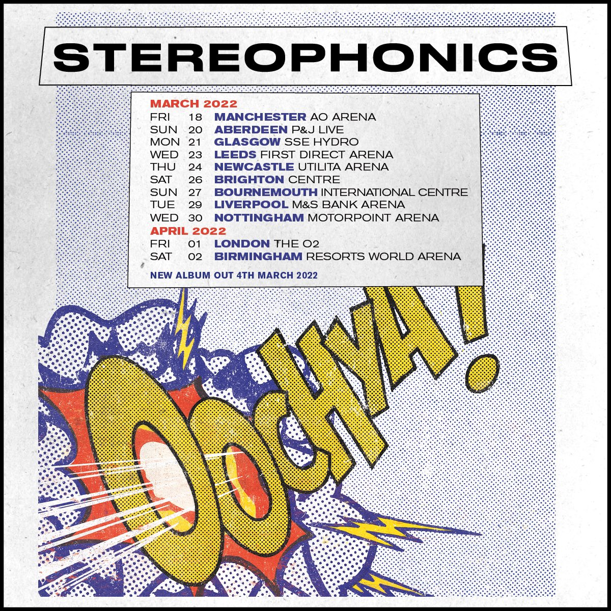 💥 'Oochya!' tour alert! We'll be heading back on the road next March/April. Pre-order 'Oochya!' on any format from the official store by midnight Tues Sept 7th for priority access to the 'Oochya! Arena Tour' on Weds: Stereophonics.lnk.to/officialstore