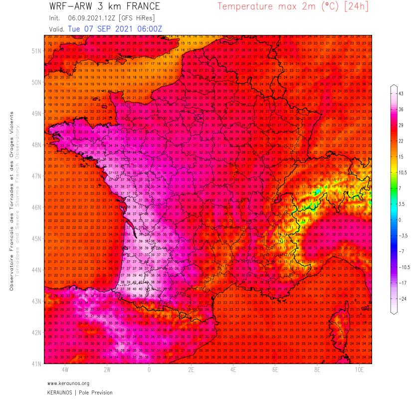 Demain mardi, des records de #chaleur pour un mois de septembre pourraient être battus sur l'arc Atlantique, de la Bretagne à l'Aquitaine. Des pointes à 38/40°C sont attendues notamment en sud Aquitaine.