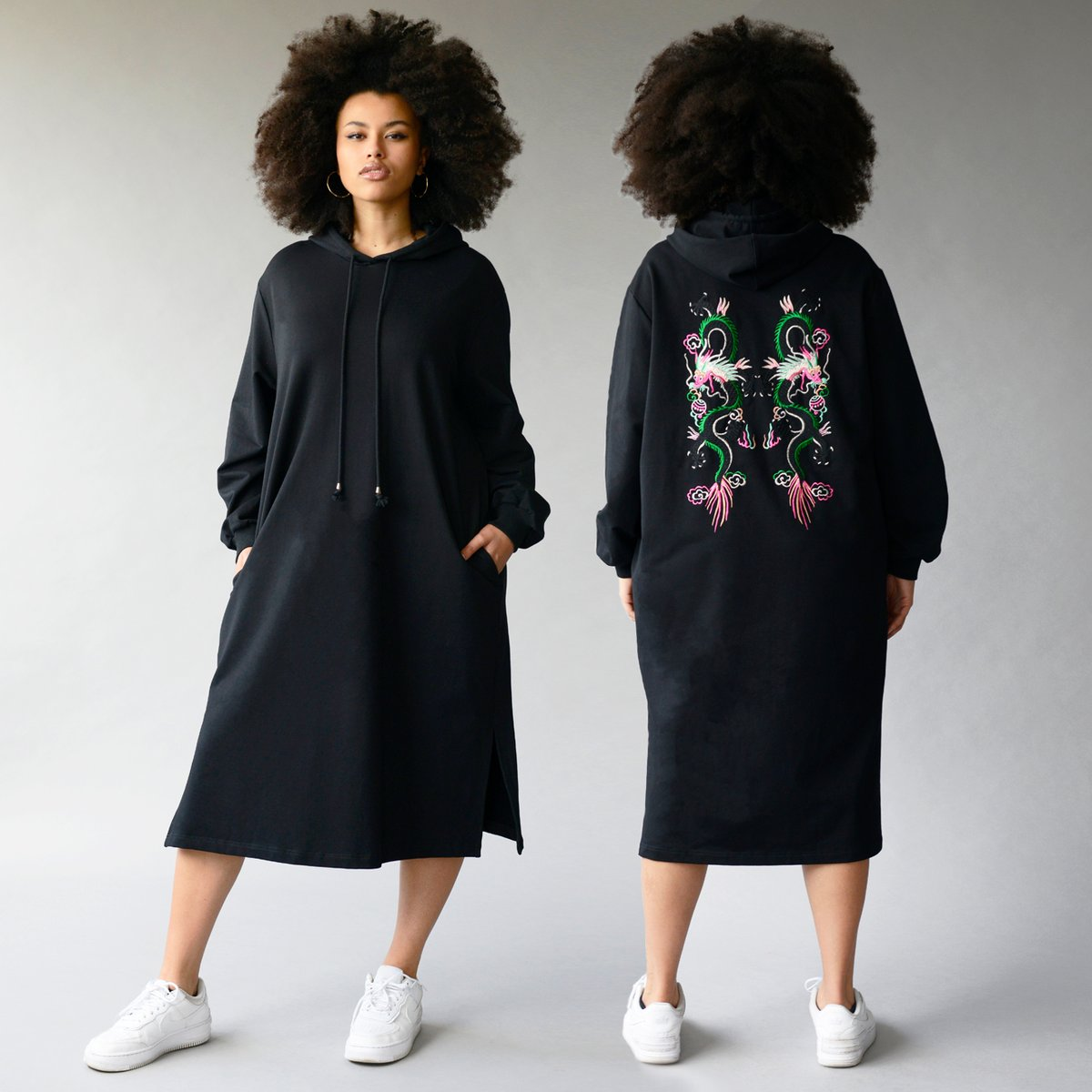 test Twitter Media - This dragon embroidered hoodie dress is flying out #annascholz #plussizedesigner #hoodiedress https://t.co/U0SDDxGbKh https://t.co/l6w2Y1amDx