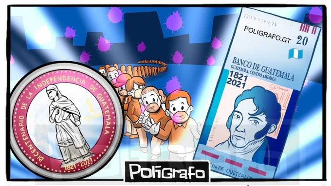 Hoy comenzó la circulación del billete de Q20 y la moneda de Q1 conmemorativos del Bicentenario de la Independencia de Guatemala.