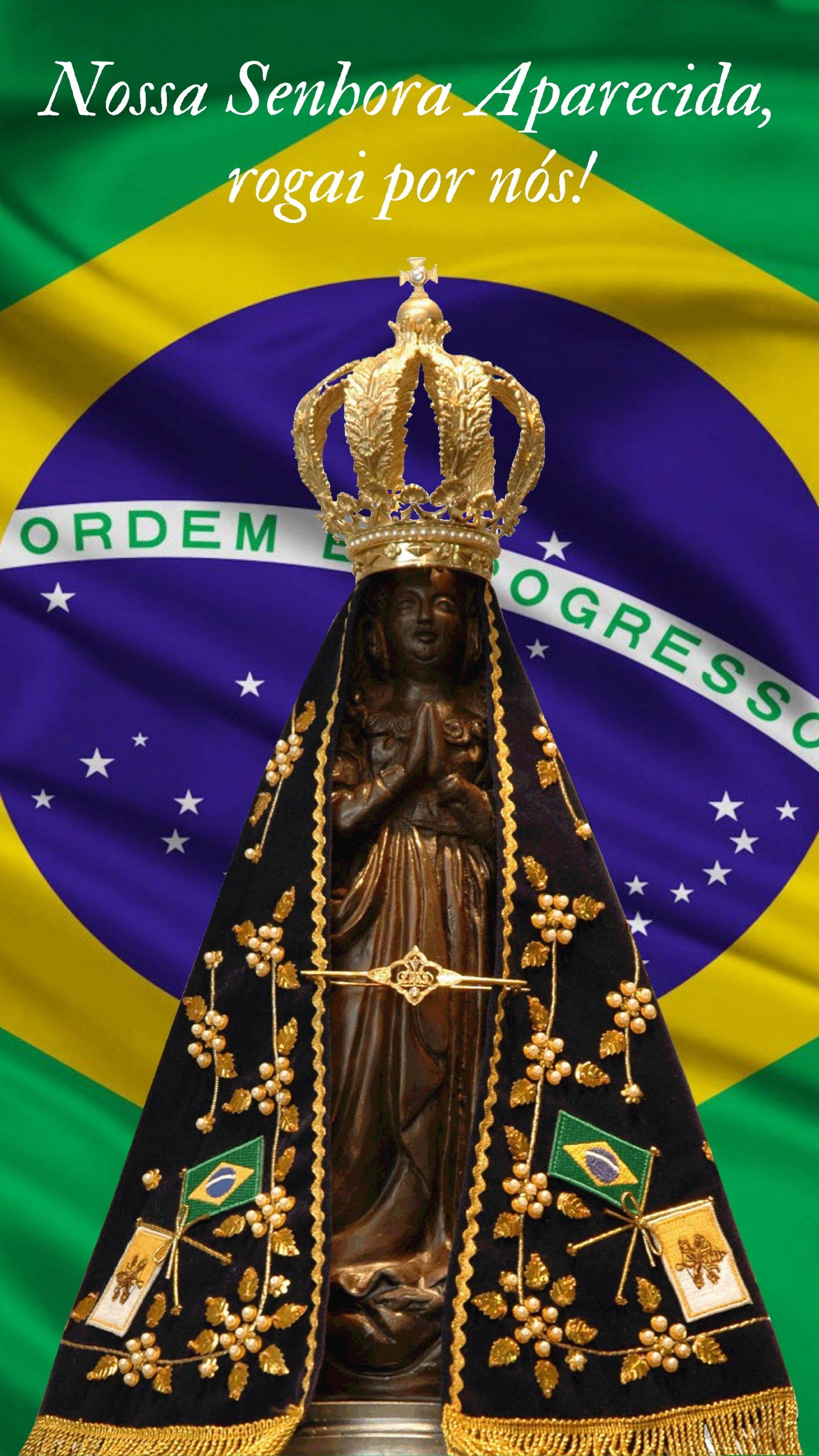 Nossa Senhora Aparecida com a bandeira do Brasil