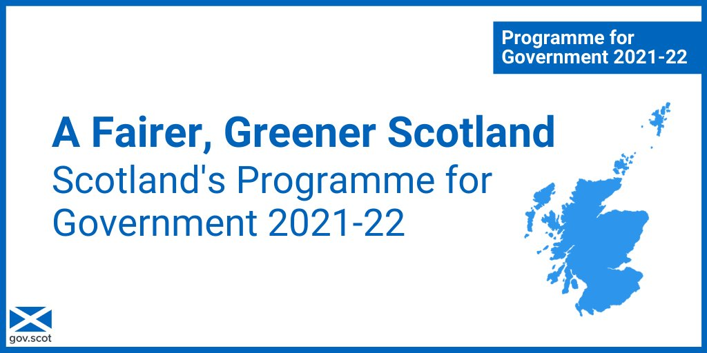 Our Programme for Government 2021-22 outlines how we're working towards: 🔹 A fairer, greener and more prosperous country, and 🔹 A sustainable recovery from the pandemic Read 'A Fairer, Greener Scotland' at gov.scot/pfg #ScotPfG