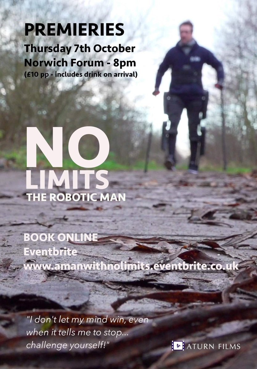 My Documentary Man With No Limits, Premieries With Episode 1 On Thursday 7th Oct At @TheForumNorwich 6pm - 8pm £10pp Includes A Drink On Arrival.. Buy Your Tickets Now On: amanwithnolimits.eventbrite.co.uk Filmed & Produced By @andy_blithe Thank You For Support X