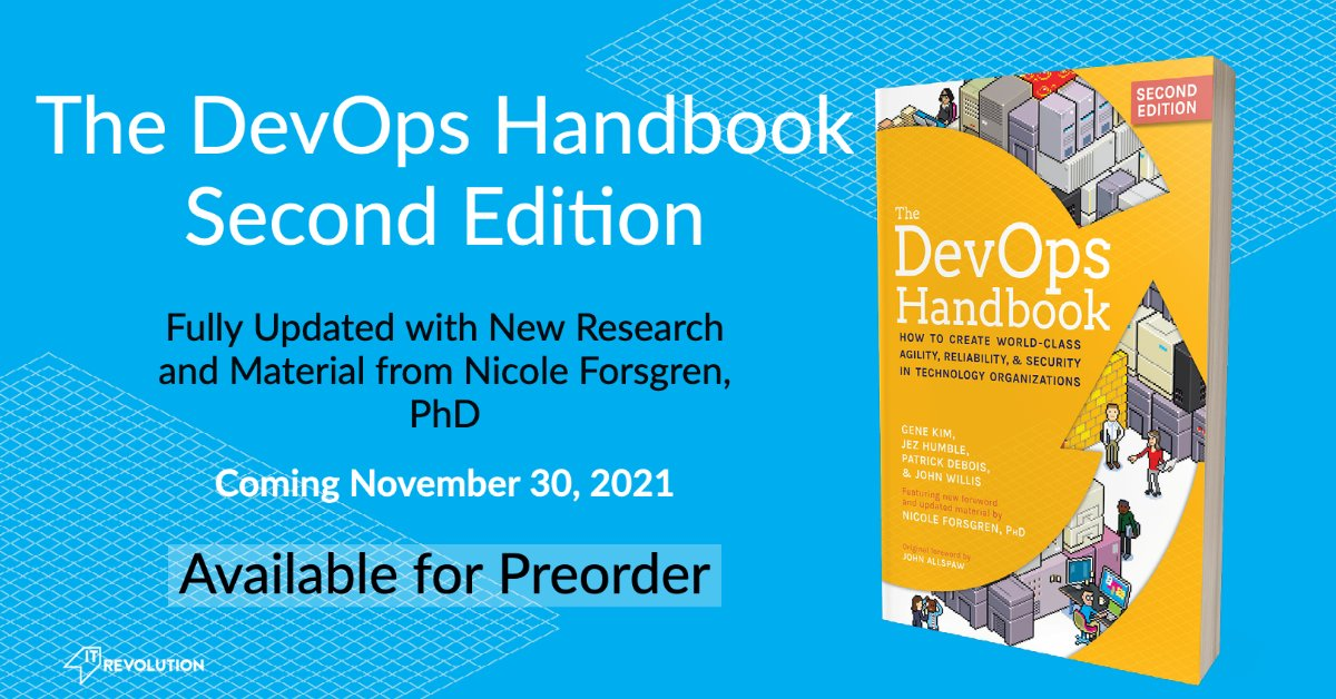 🎉I'M SO EXCITED🎉 I can finally share that DevOps Handbook 2e is coming soon, and I'm an added author. We've updated with new cases and (ofc) updated data.