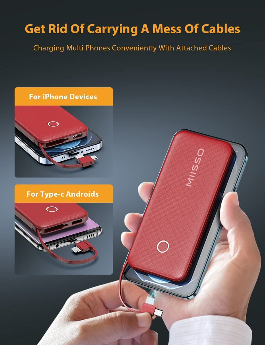 10000mah Power Bank with Cable  Only $10.26!!  Use Promo Code 6273YJI4