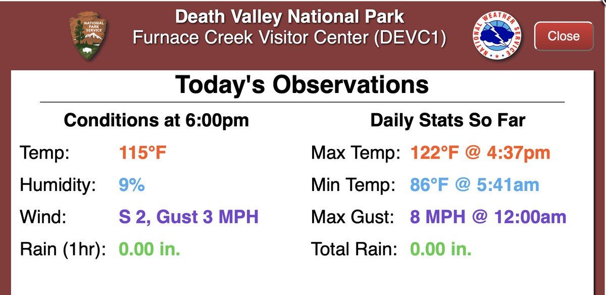 50°C dans la vallée de la Mort #USA hier mardi 7 septembre. Il s'agit des 50°C les plus tardifs dans le monde. Jusqu'à l'année dernière, c'était un 6 septembre.