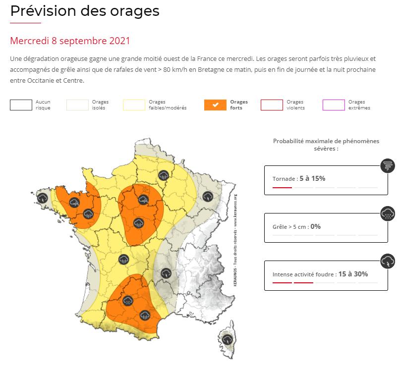 Le risque orageux est prévu marqué ce mercredi avec des #orages forts sur le nord-ouest ce matin puis cet après-midi et ce soir de l'#Occitanie au bassin parisien :