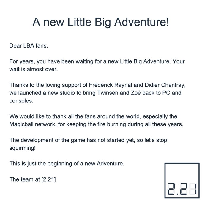 A new Little Big Adventure is coming on PC and consoles