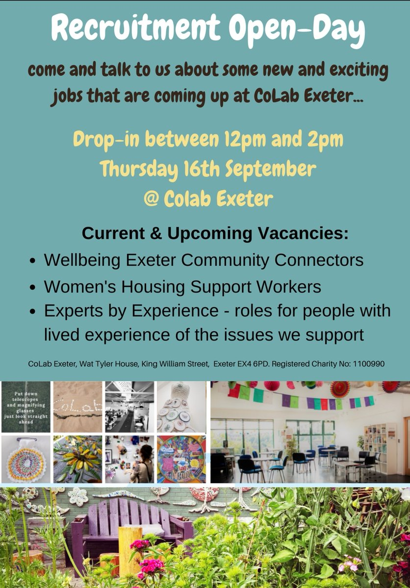 The fabulous (and award winning!) @ColabExeter are currently recruiting for a number of great roles.   #ExeterWorks #ExeterWorksTogether #CoLabExeter