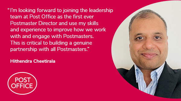 We're delighted to announce that experienced Postmaster Hithendra Cheetirala has been appointed as our first ever Postmaster Director. His focus will be on bringing the Postmaster voice into our day-to-day business https://t.co/9mAH3LCgC9