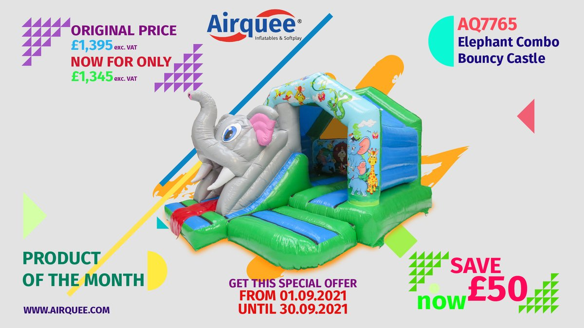 ✋Product of The Month: AQ7765 Elephant Combo Bouncy Castle 🥇Get this product for only £1,345 exc. VAT throughout September. bit.ly/3yOut8x 📣PROMOTIONAL PERIOD: Start Time: 01.09.2021 End Time: 30.09.2021 #productofthemonth #TopSeller #buyyourown #promotion #discount