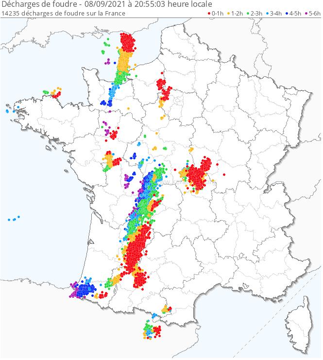 Plusieurs postes de l'est du #LotetGaronne, est #Dordogne et est du #Gers relèvent 50 à 80 mm avec 86.4 mm à Agen. Sur ces stations, les cumuls en 6 min ont culminé entre 10 et 12 mm. #orages