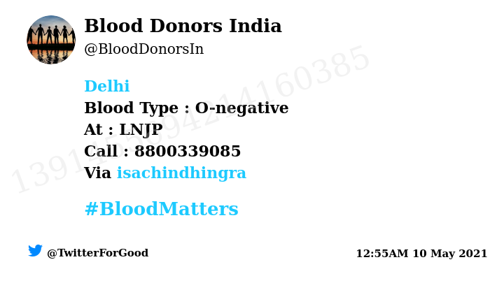 #Delhi Need #Blood Type :  O-negative At : LNJP Blood Component : Need O-ve plasma from #Covid19 recovered patient Number of Units : 2 Primary Number : 8800339085 Via: @isachindhingra #BloodMatters Powered by Twitter https://t.co/QnyGT9QACC