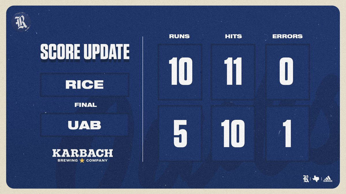 FINAL | Rice defeats UAB, 10-5, to earn the series victory!  #GoOwls👐 x #RFND https://t.co/EENPx2EomE