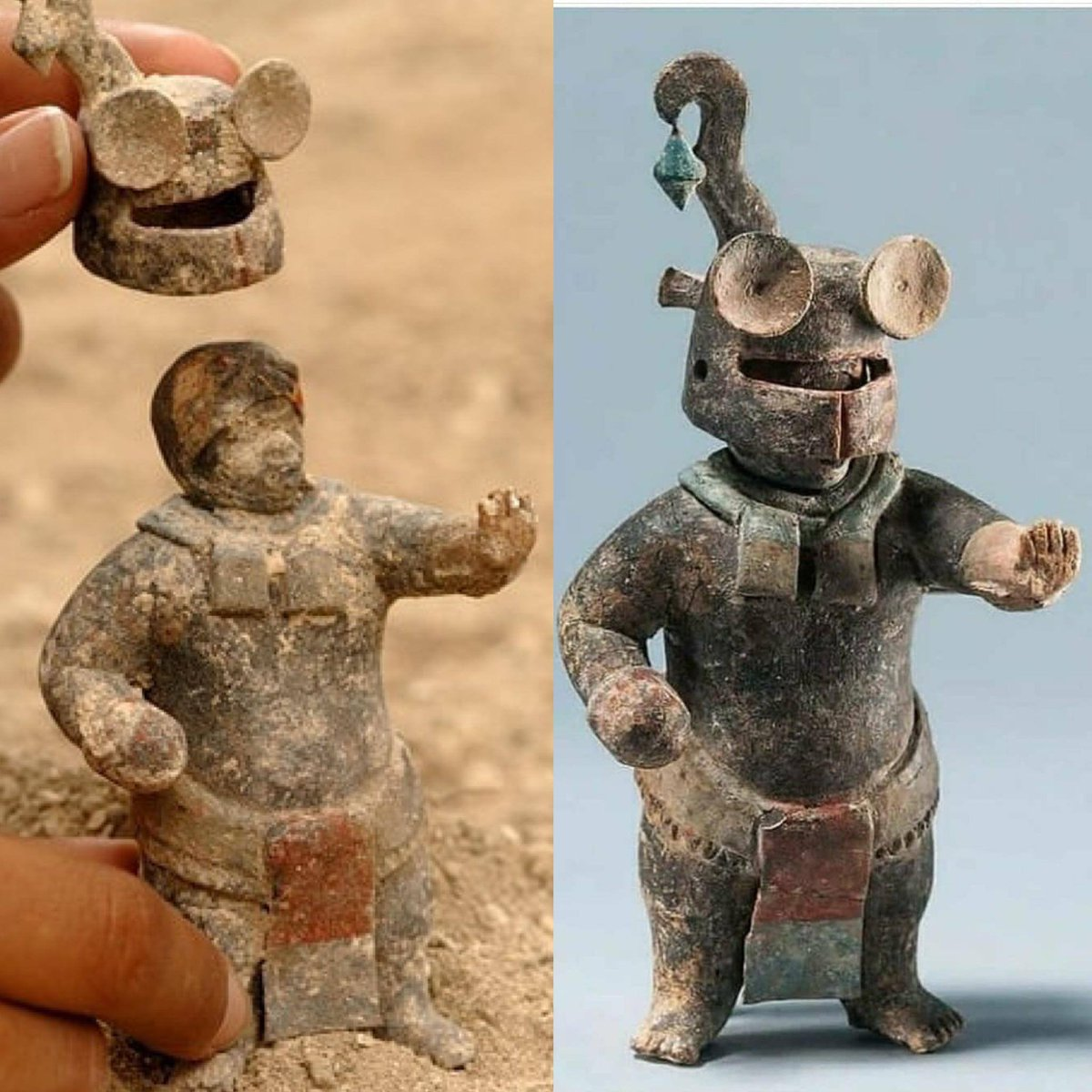 1,500-year-old Ceramic Maya Figurine with Removable Helmet. Guatemala.  Action figure has been around for a long long time https://t.co/1LTCykjqCE