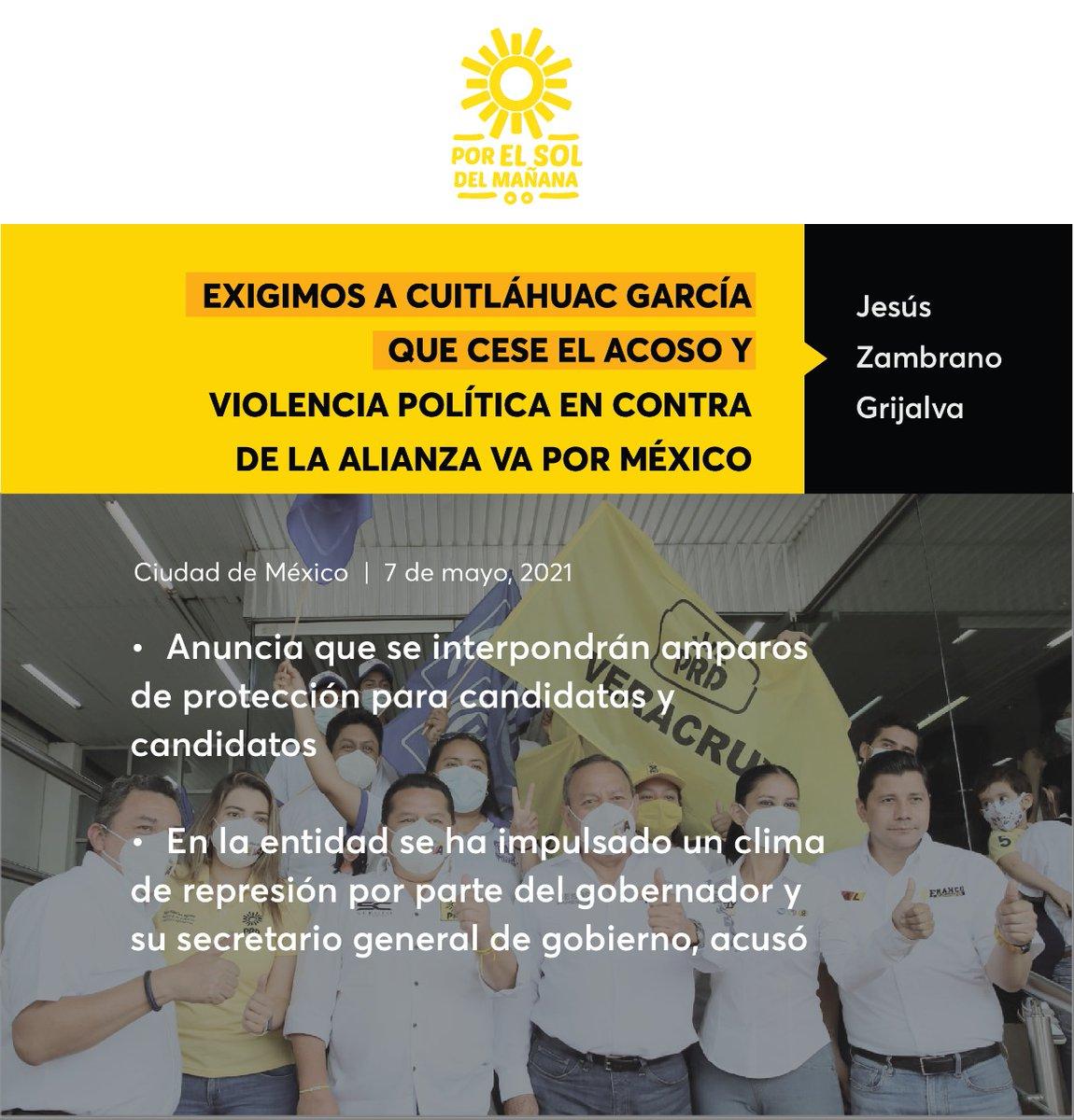 Exigimos a @CuitlahuacGJ  que cese el acoso y violencia política en contra de la alianza #VaPorMéxico: @Jesus_ZambranoG   Comunicado 📃🔆➡️ https://t.co/3h8VFx11j0 https://t.co/q9hj4YwYV6