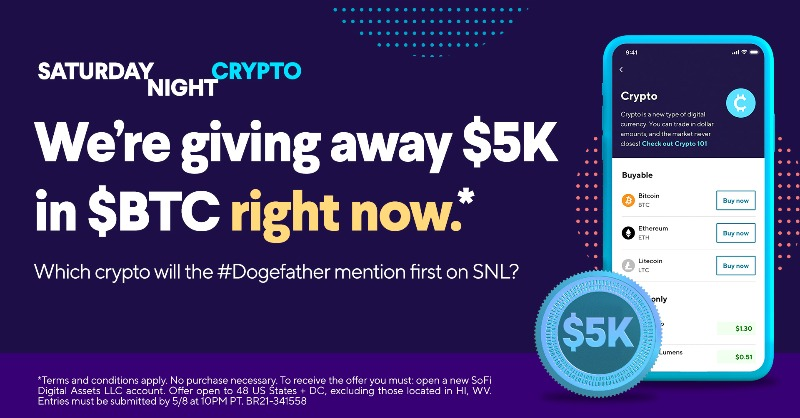 test Twitter Media - Ready to win $5000 in $BTC? Share your prediction on which $crypto coin the #Dogefather will mention first on #SNL.   It's this easy to enter: ✔️ Follow us ✔️ RT with your answer ✔️ Use #InvestWithSoFi No purchase necessary. #SweepsEntry Official Rules: https://t.co/mfJRWH2JUS https://t.co/Eo0Nq0or3h