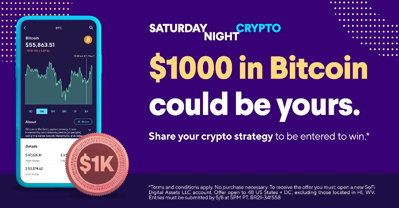test Twitter Media - Let's keep this going! Share your $crypto strategy for a chance to win $1000 in $BTC in your SoFi Invest account. #DogeSNL  To enter: ✔️ Follow us ✔️ RT with your answer ✔️ Use #InvestWithSoFi No purchase necessary. #SweepsEntry Official Rules: https://t.co/pIy8GyvQAz https://t.co/Mx6D4nq7YR