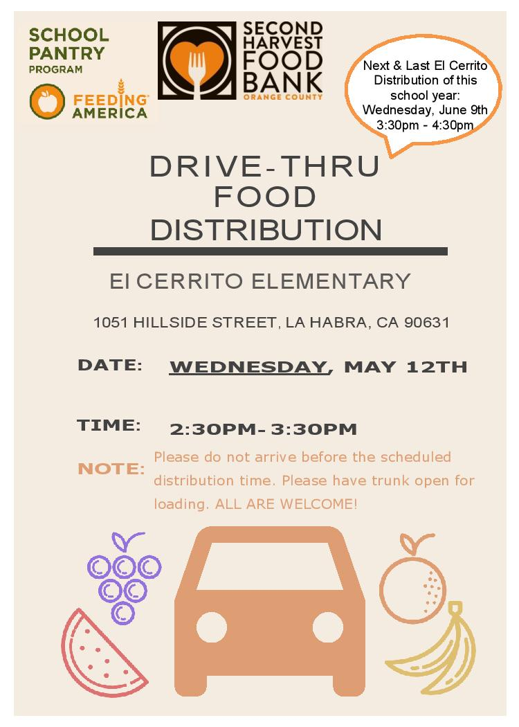 @elcerritolhcsd @SecondHarvestFB May Food Distribution, next Wednesday, May 12th; 2:30pm. ALL are Welcome! 🍊🥬🥔  Distribucion de Alimentos de Mayo de @elcerritolhcsd @SecondHarvestFB proximo mièrcoles, mayo 12; 2:30pm. TODOS Bienvenidos! @LHSchools @LHCSDReadiness @LaHabraCA https://t.co/Az5acbBQOz