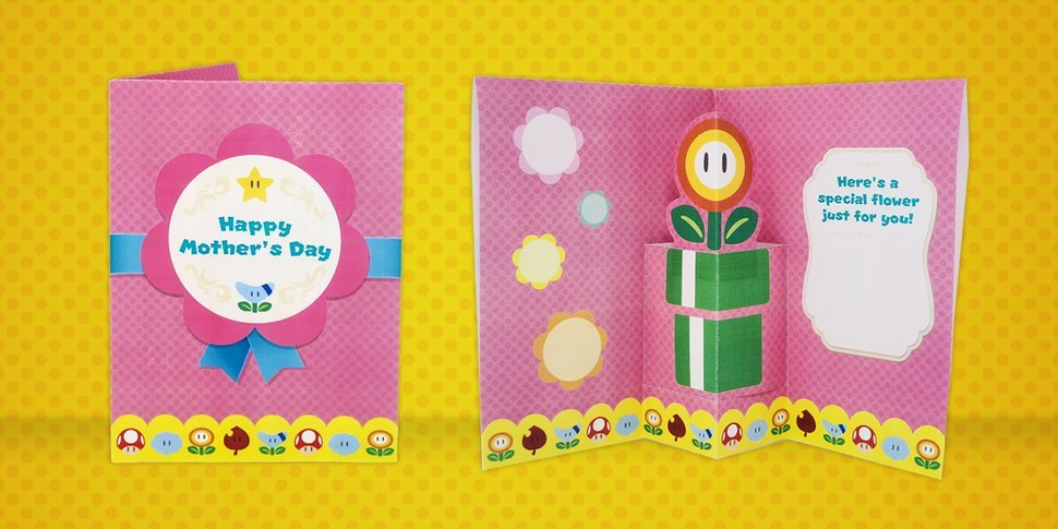 Free printable Fire Flower Mother's Day pop-up card from Nintendo: