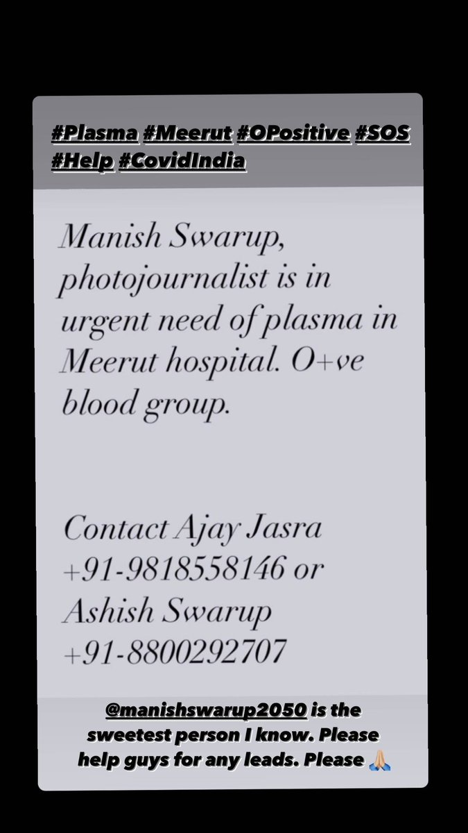 #Help #Plasma #Meerut #SOS #COVIDinIndia #OPpsitive https://t.co/PNZc3aWyCw