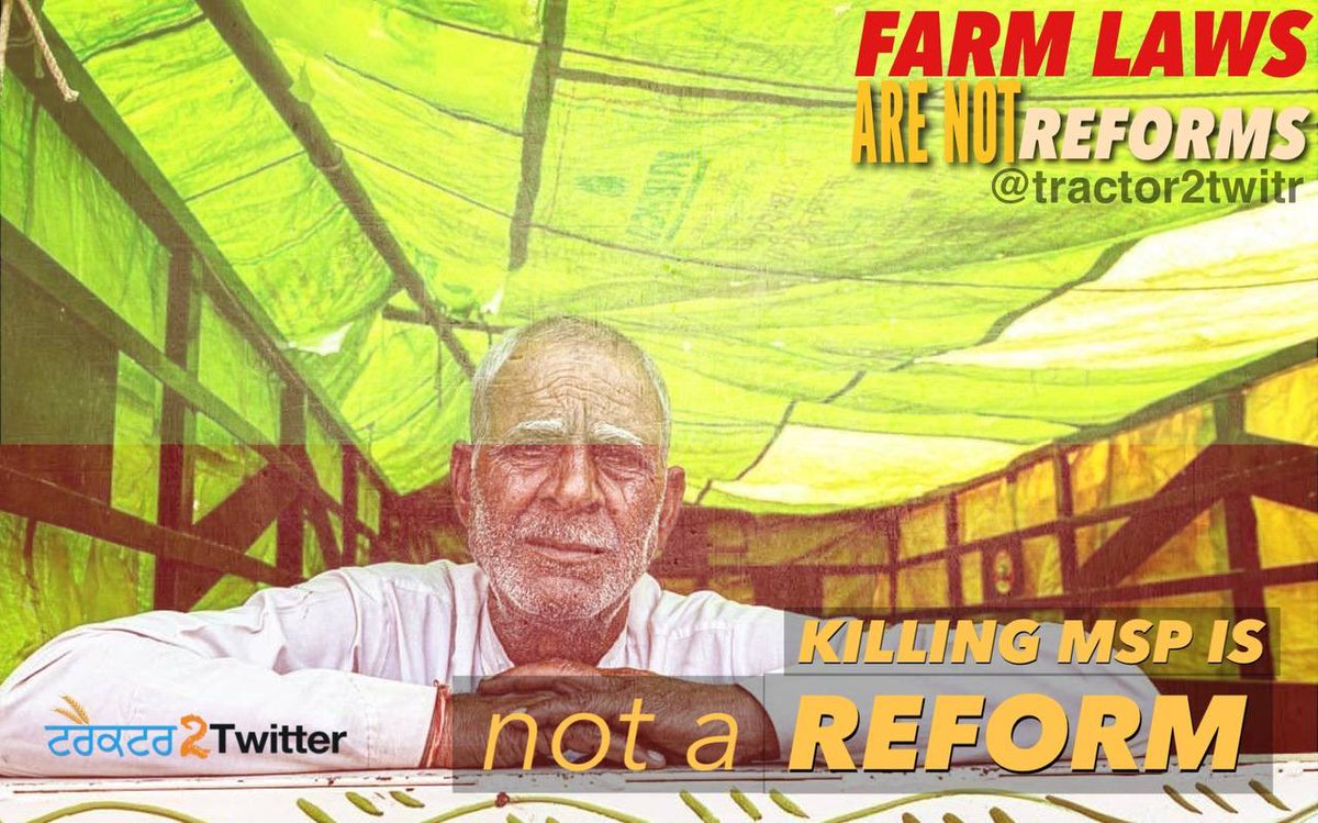 Farming needs reform in India. But these new farm laws are death warrants for farmers. How can one call these laws reform when they are designed to kill the same people it needs to save?   #FarmLawsAreNotReforms #FarmersProtest https://t.co/HQ2zBT5YUO