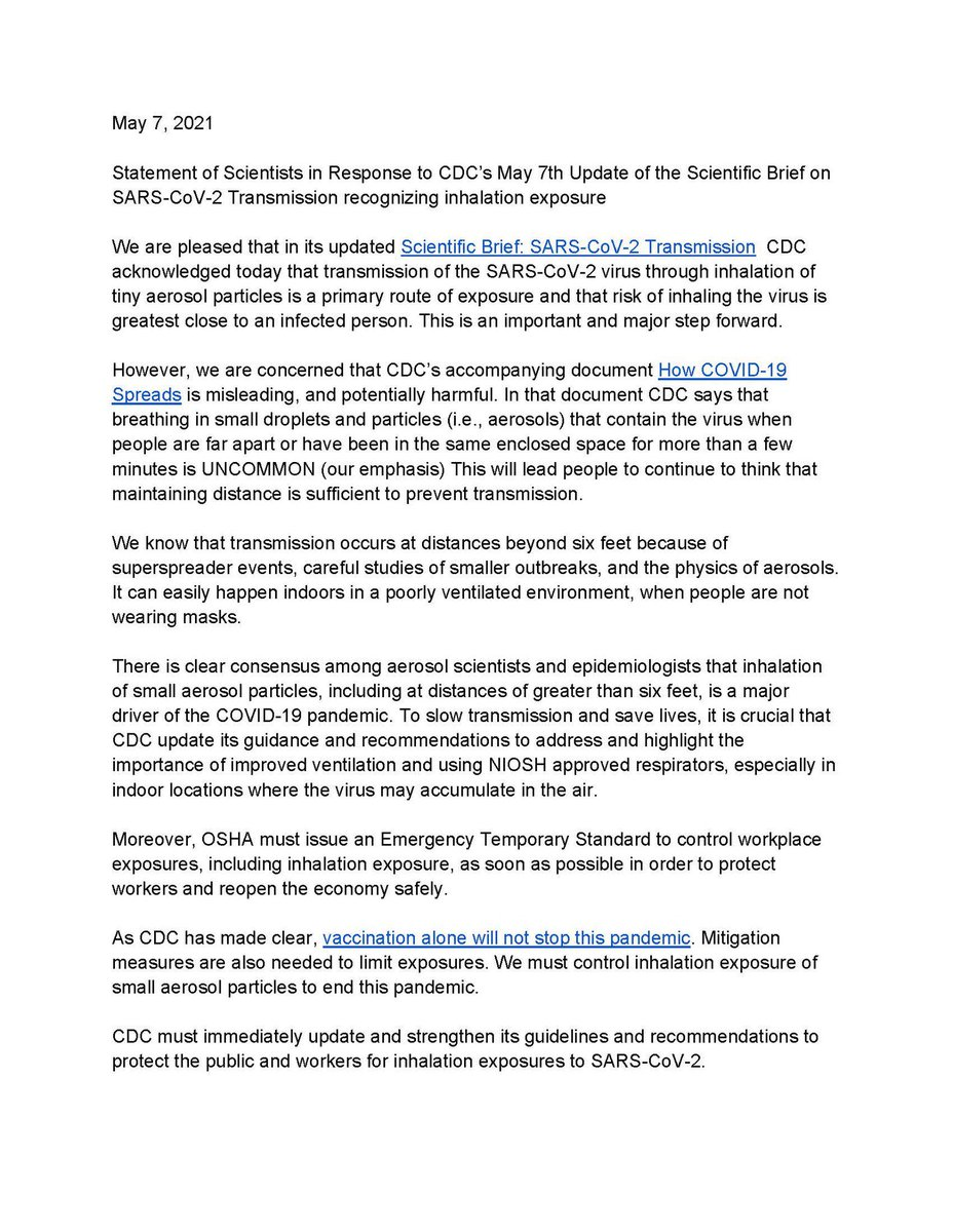 """14) That said, while CDC update is good, CDC left out a few things. This letter penned by major aerosol scientists point out the CDC's accompanying editorial still misleading, and will """"lead people to continue to think that maintaining distance is sufficient"""".   HT @kprather88 https://t.co/iCWVvFl6ts"""