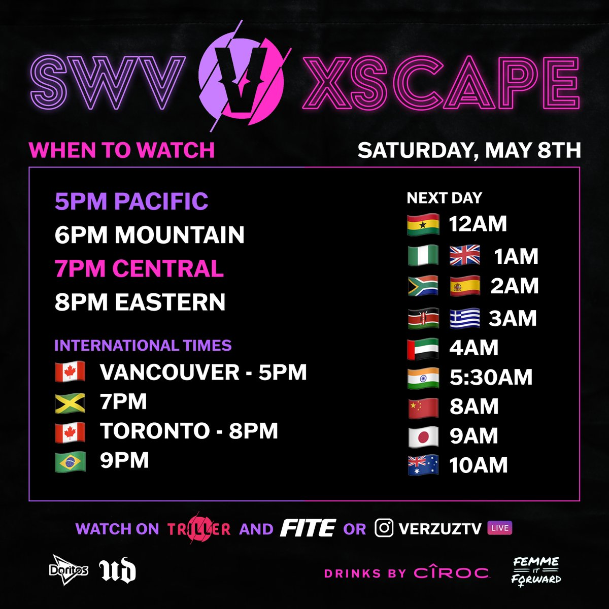 WHEN/HOW to watch SWV vs Xscape on SATURDAY NIGHT 🔥 Share/tag a friend so they don't miss out! #TeamDoritos   Have a smart TV? Download the @FiteTV app for the full experience!  Happy Mother's Day from @UrbanDecay! #VERZUZ @FemmeItForward  Drinks by @Ciroc https://t.co/xiXB9qRvnP https://t.co/9ssTUTU78G