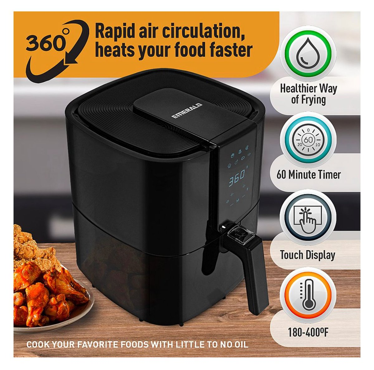 ad: $39.99  (50% off)  Emerald 5.2L Digital Air Fryer   Link0 Link0