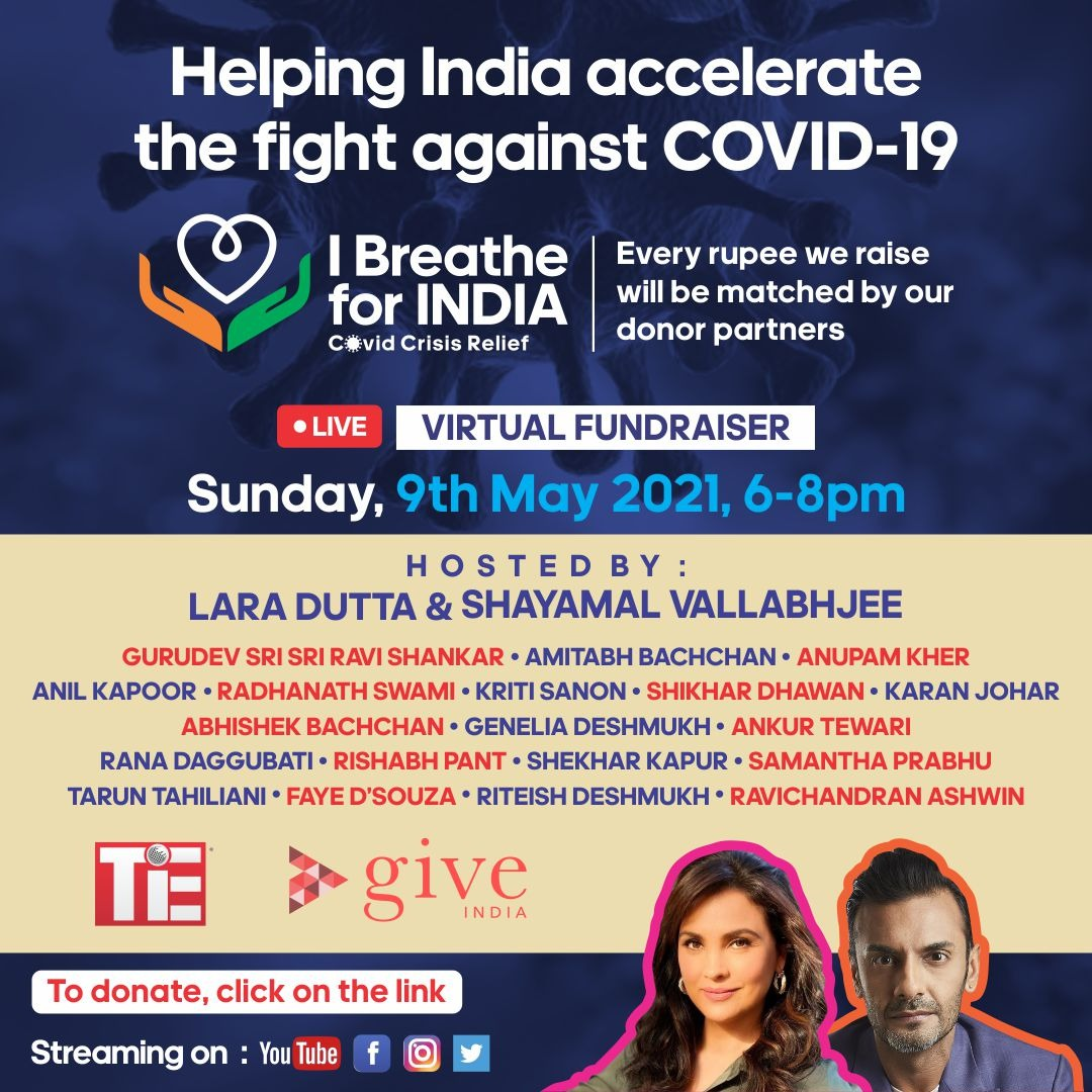 Todaywe join hands to come together to help India fight COVID-19.   For every rupee raised our key event donors will match up to 7.5 crores in proceeds.   I stand for India, I BREATHE FOR INDIA- do you?  Click the link to donate: