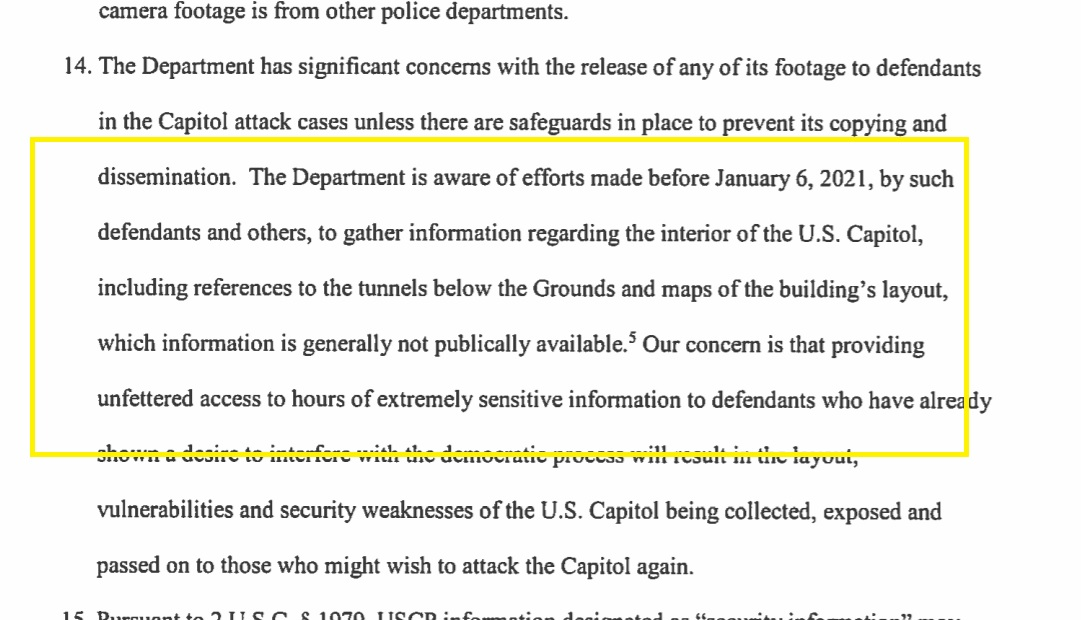 Capitol Police are trying to block release of some (if not most) of its Jan 6 surveillance video from Capitol riots to defendants & media.   They say insurrectionists tried to get advance info about tunnels & layout .. .and police say releasing video could inform future attacks https://t.co/dmqFui4dSB
