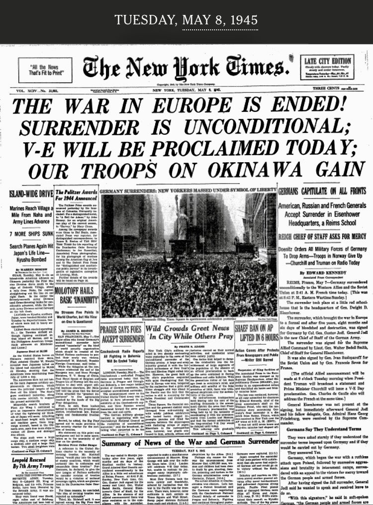 It's VE Day!  Americans' victory against fascism in WWII.