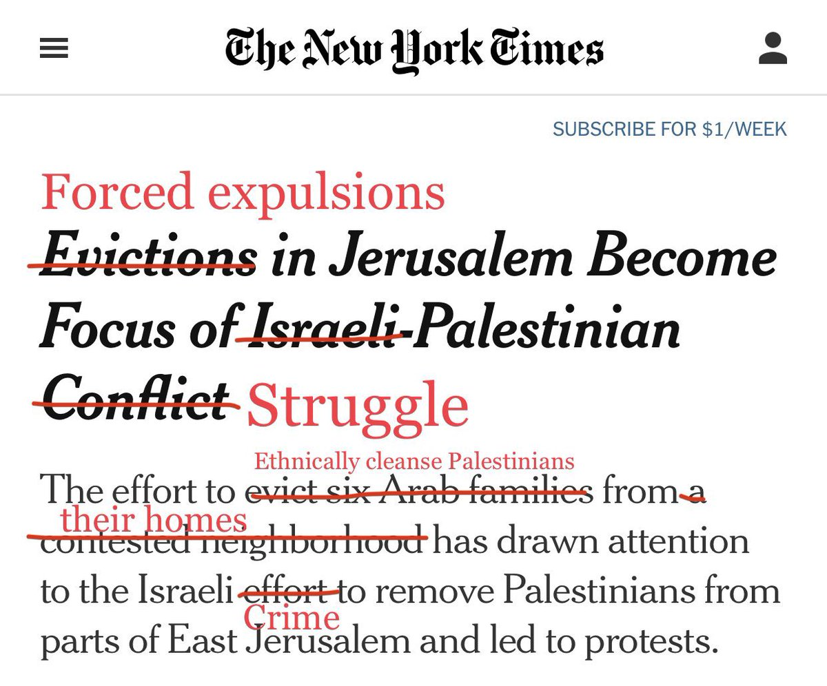 """""""Evictions"""" makes it sound like they didn't pay their rent. An indigenous population is being forced out of their homes, off their land, brutalized by security forces & threatened with violence. Call it what it is.   (Copied).  #PalestineLibre https://t.co/SdQsREF42O"""