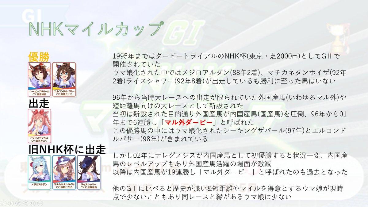 RT @toukouuma: ウマ娘ユーザー向けに明日行われるNHKマイルカップがどんなレースか説明します https://t.co/tx3jKp1k60