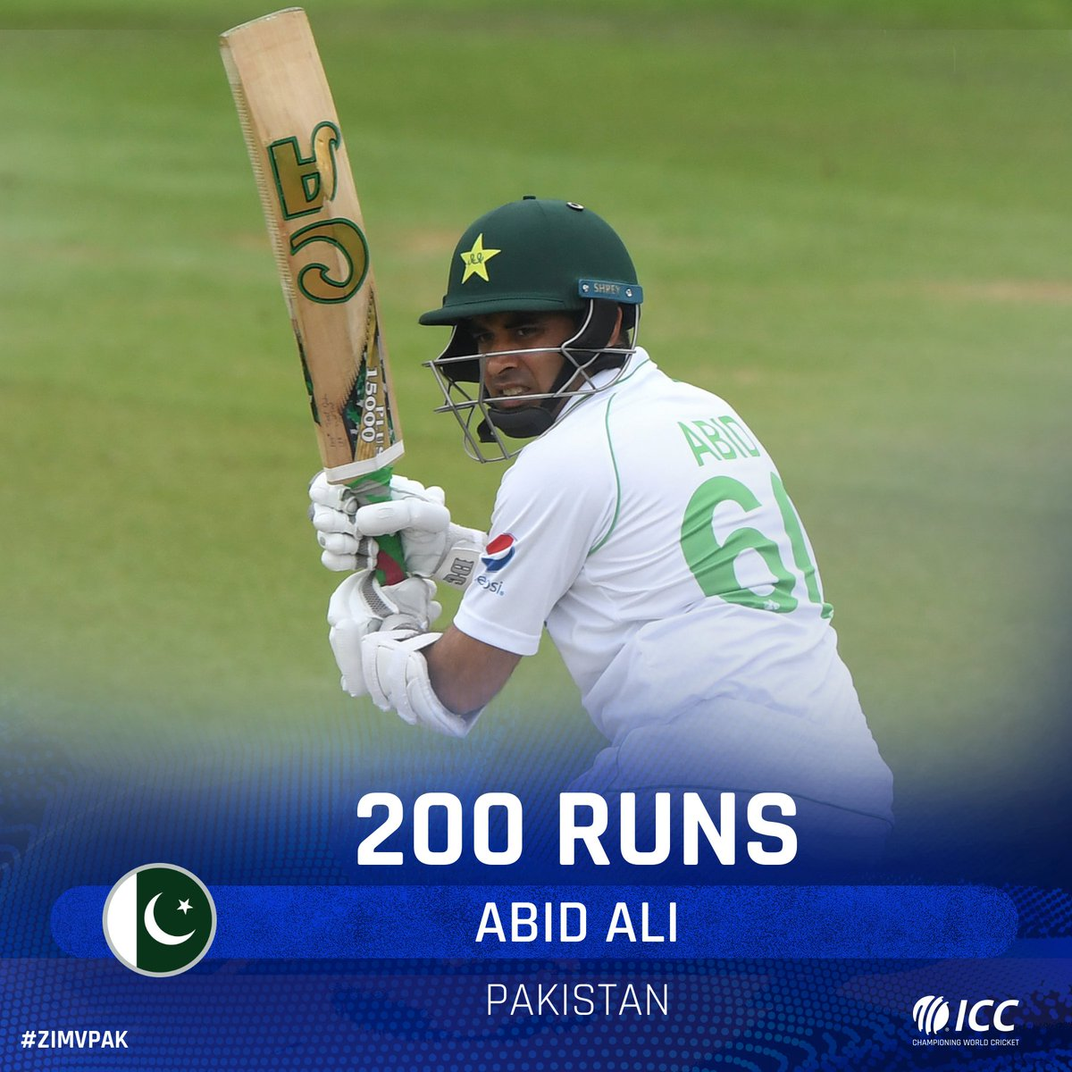 Abid Ali scores his maiden double ton 💪  He has taken Pakistan past 440 and his eighth-wicket stand with Nauman Ali has crossed 100.  #ZIMvPAK | https://t.co/8hH4EMRnA8 https://t.co/VIt6Exlh4j