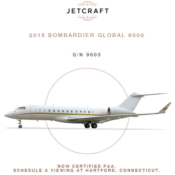 Turnkey, ready to buy & fly   - 2015 #Bombardier #Global 6000 at @JetcraftCorp APU Enrolled on MSP CFMS Compliant More details at: https://t.co/XNTrqZeLaO  #bizjet #bizav #aircraftforsale #privatejet #privateflying #jetforsale #businessaviation