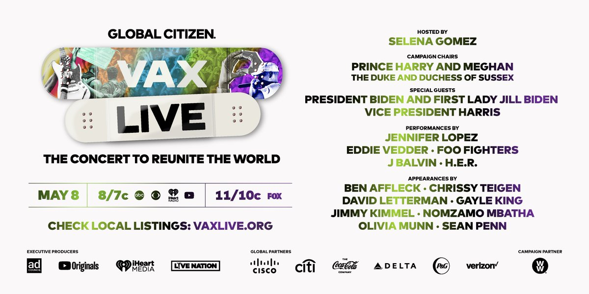 TODAY'S THE DAY! 🎉 Don't miss the premiere of #VaxLive hosted by @selenagomez tonight at 8/7c. See @JLo, @HERMusicx, @JBALVIN, & more of your favorite stars come together in support of vaccine equity. Excited? Check your local listings 👉