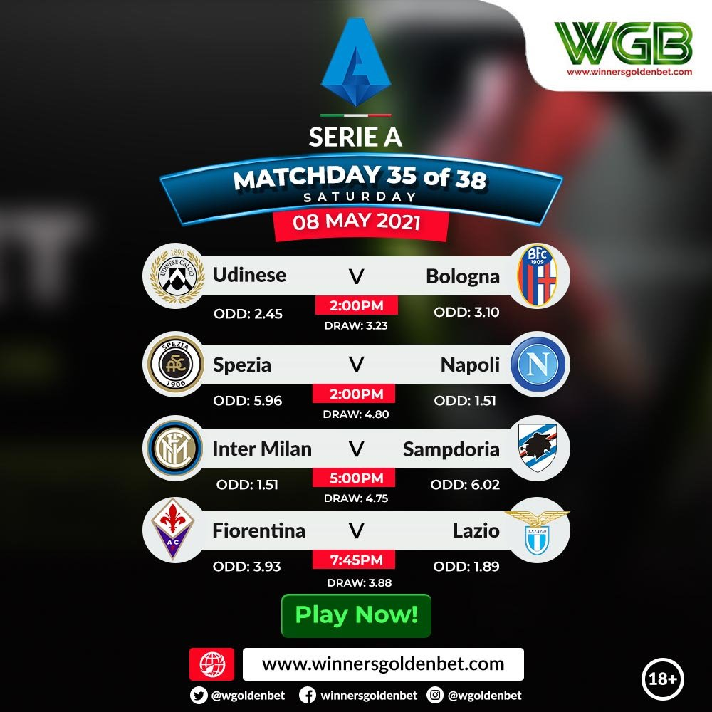 #SerieA Fixtures Today:  It's a must win game for Napoli and Lazio today if they want to keep up their hopes of qualifying for the #UCL next season.... Will you be backing both teams to win?   PLAY HERE 👉https://t.co/U3tY2EnA08 https://t.co/7qhdkcUEEx