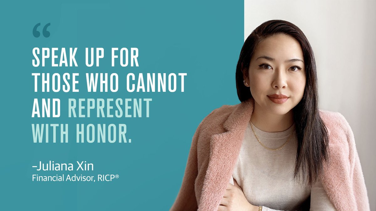 Born into an immigrant family as a first generation Chinese-American, financial advisor, Juliana Xin takes tremendous pride in her identity and educates and empowers her community to embrace their best opportunities. We're spotlighting advisors like Juliana for #APAHM. https://t.co/NOT9KifHOk