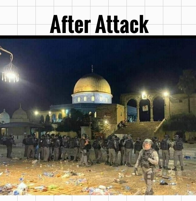 #IsraeliAttackonAlAqsa  💔💔💔 Keep Palestine and Palestinians in your prayers.  May Allah Almighty protect our brothers and sisters there... 🤲  #Palestine #AlAqsaMosque #AlAqsa #AlQudsDay #FreePalestine https://t.co/l4cSGOmlKd
