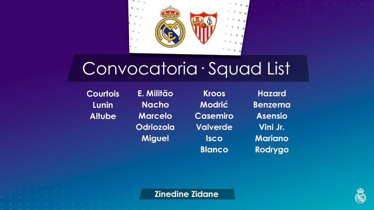 📋✅ Our squad for the match 🆚 @sevillafc !   #RealMadridSevillaFC #HalaMadrid #RealMadrid #Pune #Punekar #PeñaMadridistaDePune #MadridismoIndia #Madridismo #LosBlancos #MadridistasPune #HastaElFinal #VamosReal #UCL #Madrid #Spain #Indian #Football #RMFans #Madridistas https://t.co/kldJq16Rij