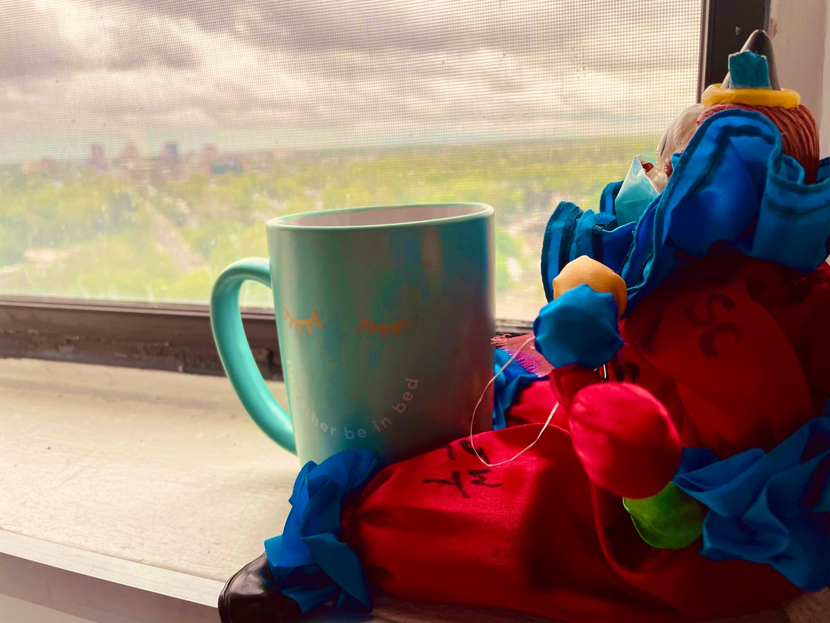 Update: We survived the night! I found him looking out and pondering this morning. Maybe he's just misunderstood. Must be lonely being a haunter clown. We're having a coffee together, maybe he'll tell me his story... @atobiamd #mynewplaymate #psychclerks #clown #stories #friends https://t.co/PiiyBPDC8h