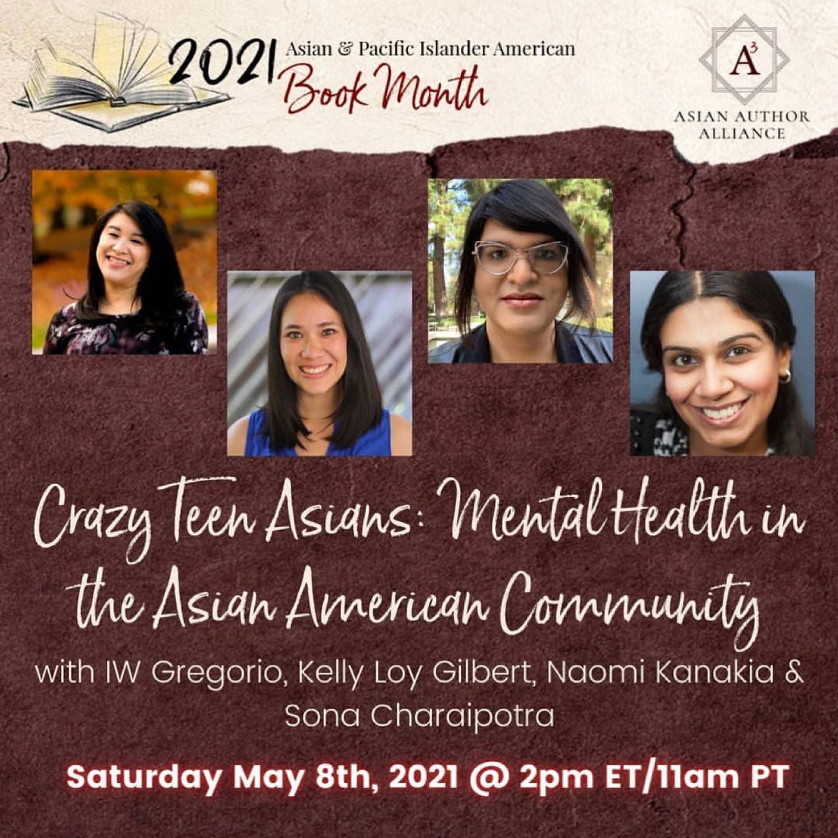 Today, 𝗦𝗮𝘁𝘂𝗿𝗱𝗮𝘆, at 𝟮𝗽𝗺 𝗘𝗧   @Asian_Authors presents a panel on #AsAmAF #MentalHealthMatters panel with @kellyloygilbert @iwgregorio @rhkanakia And me!  YouTube link: https://t.co/tBspKjArzv  #authorlife #Asianauthors #asianamericanheritagemonth  #APAHM  https://t.co/cUthPXbZh5
