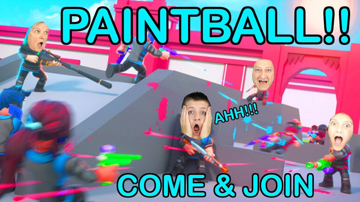 Come and join us live on YouTube at 6.30pm. We will be playing #bigpaintball. Be sure to come and join in the fun. #Livestream #livegaming #gamers #game #SupportSmallStreamers #gamingfun #gamingfamily #paintballwar #roblox #robloxgames #joinus @Roblox https://t.co/MKud5ZrA7g