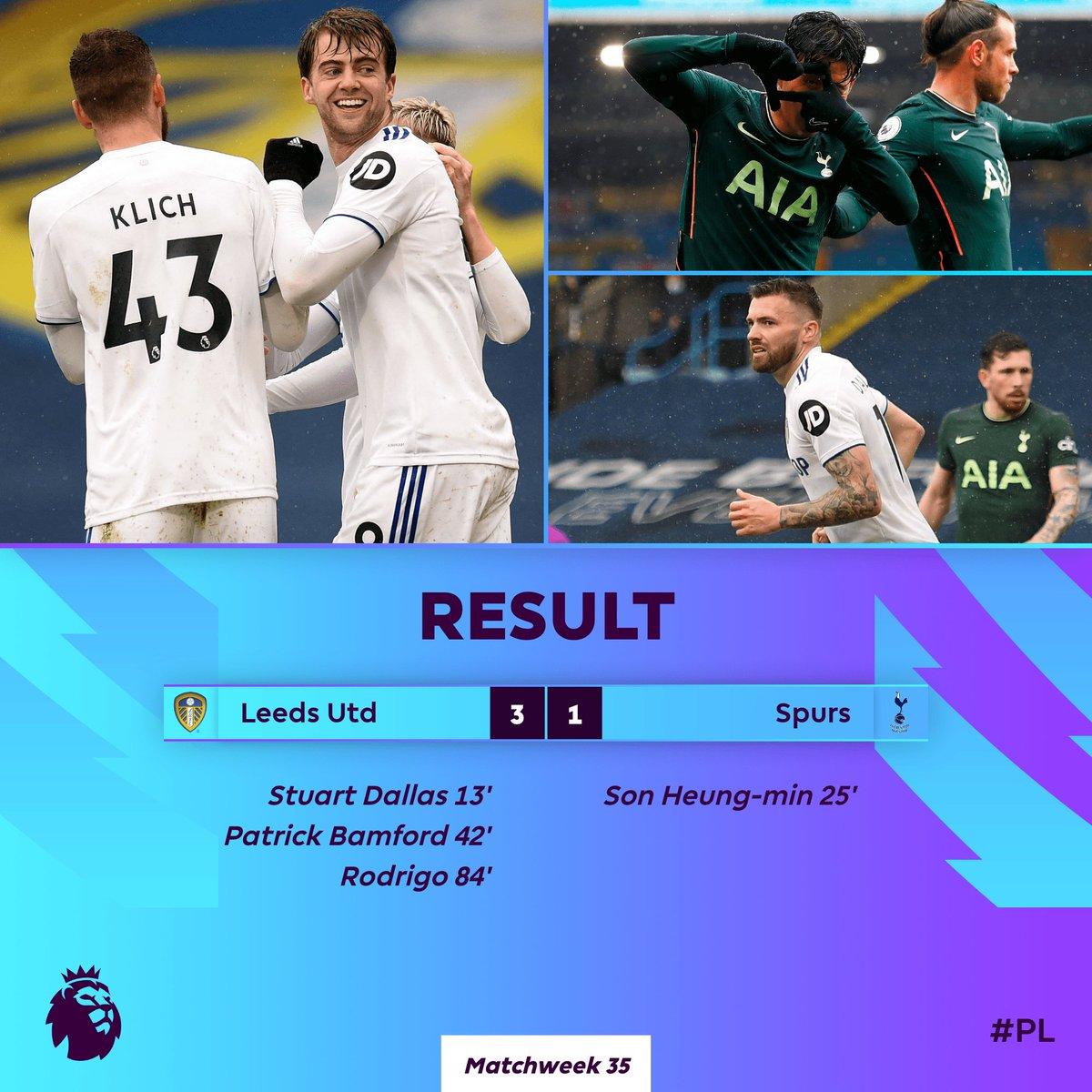 ¡Tottenham se aleja de la próxima #UCL!  👉 Leeds United derrotó a los Spurs 3-1 con tantos de Dallas, Bamford y Rodrigo.  👉 Tottenham a 5 puntos de puestos de Champions League con 9 puntos por disputar...  #premierleague https://t.co/iVZEoFIr6N