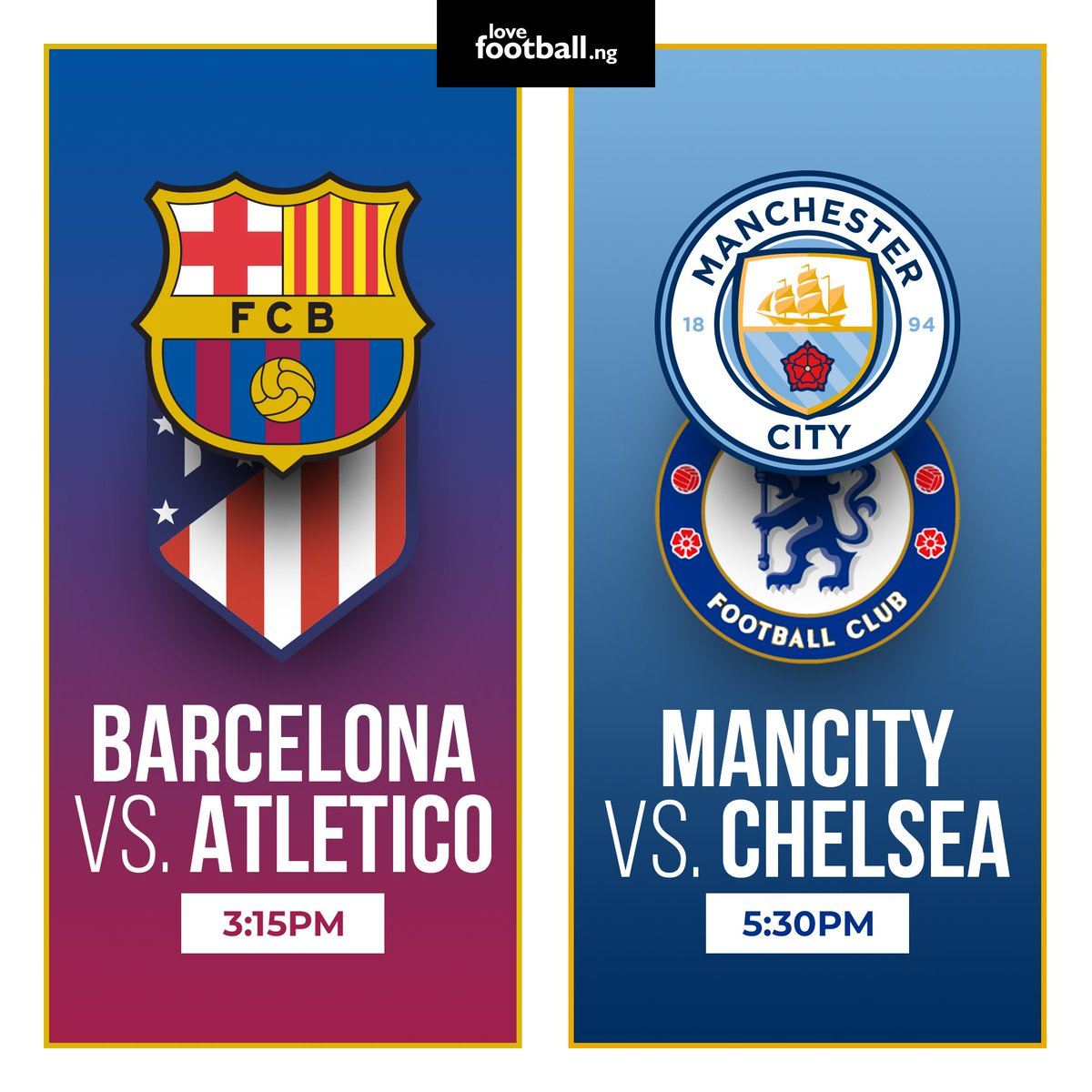 Barca host leaders ATM on a pivotal weekend in the La Liga title race.  In a dress rehearsal for the #UCL final, Man City host Chelsea in today's PL showdown.   Win up to N15,000 in these exciting contests:  Fee: N500 Link:https://t.co/IySebD4OJc  Link:https://t.co/ykP3breLBe https://t.co/AgnniNfpov